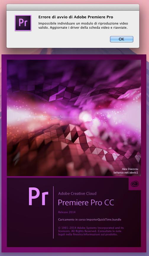 errore Adobe CC avvio di Premiere Pro